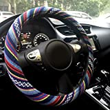 "Rayauto Automotive Boho Ethnic Flax Sofy Universal Car Steering Wheel Cover Grip 15"" (Pattern A)"