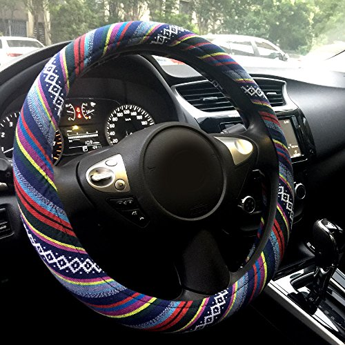 "Price comparison product image Rayauto Automotive Boho Ethnic Flax Sofy Universal Car Steering Wheel Cover Grip 15"" (Pattern A)"