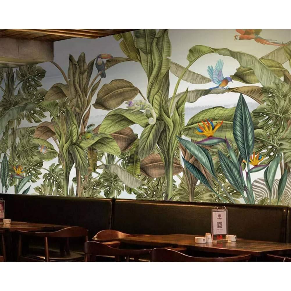 salida de fábrica 250x175cm YYBHTM Papel Tapiz Mural Dibujado A Mano Mano Mano De Plantas Tropicales De La Selva Tropical Flores Y Pájaros Animales Bosque Herramientas Parojo Fondo De Pantalla 3D  tienda de venta