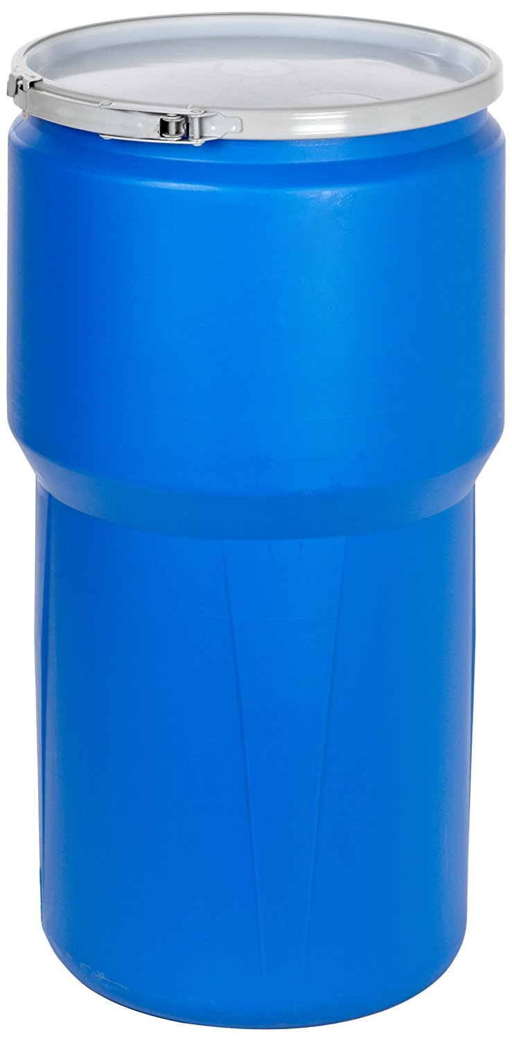 Eagle 1610MB Blue High Density Polyethylene Lab Pack Drum with Metal Lever-lock Lid, 14 gallon Capacity, 26.5'' Height, 15'' Diameter (Pack of 2)