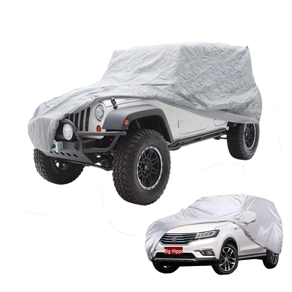 Big Hippo Car Cover-Breathable Waterproof Car Covers Full Size Snow Cover Custom Fit Sedan Up to 190 Inches-Sliver