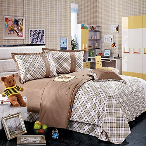 MeMoreCool Home Textile Cartoon Little Mouse Design Reactive Printing 100% Cotton 3 Piece Bedding Set Embroidery Boys and Girls Quilt Covers Soft Flounce Bed Sheets Twin Size