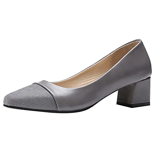 628ac1771a Rismart Mujer Dame Tacón Grueso Trabajo Fiesta Formal Ropa Ante Cuero  Zapatos De Tacón  Amazon.es  Zapatos y complementos