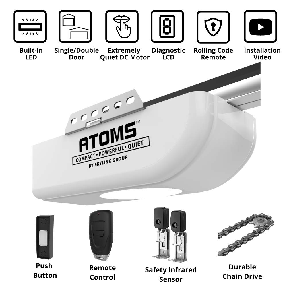 ATOMS AT-1611 By Skylink 1/2HPF Garage Door Opener with Extremely Quiet DC Motor, Chain Drive by SKYLINK