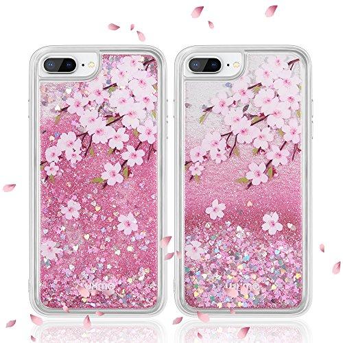 LUXMO Quicksand Case for iPhone 8 Plus 7 Plus 6 Plus 6S Plus, Waterfall Fusion Liquid Sparkling Quicksand Case for iPhone 8 Plus 7 Plus 6S Plus 6 Plus (Pink)