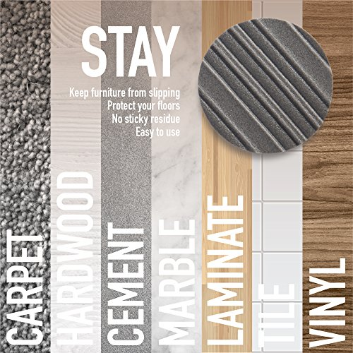Stay! Furniture Pads, Round Furniture Grippers, Gripper Pads, Furniture Pads for Hardwood Floors and Carpet, Anti-Slip | Round, Gray, Set of 8 (4'') by Stay Furniture Grippers (Image #3)