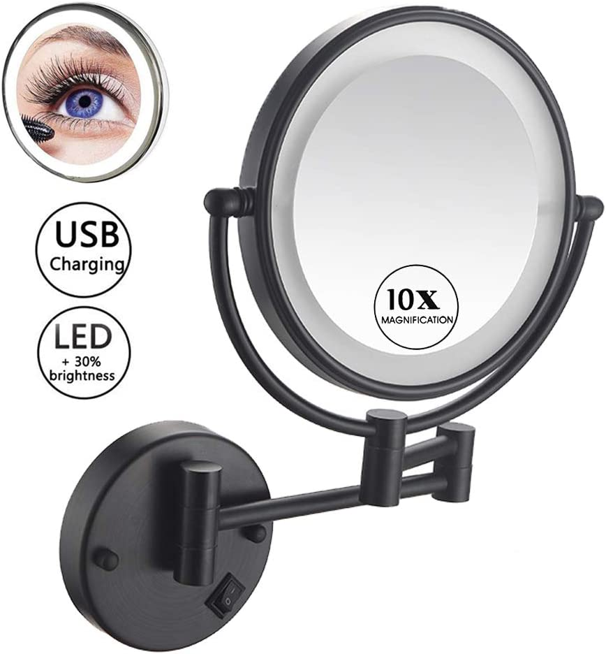 Makeup Mirror Wall Mount LED Black with 10x Magnification, 8in Double Sided 360° Swivel Vanity Mirror with 12in Extension and Adjustable Light for Bathroom Bedroom, USB Rechargeable