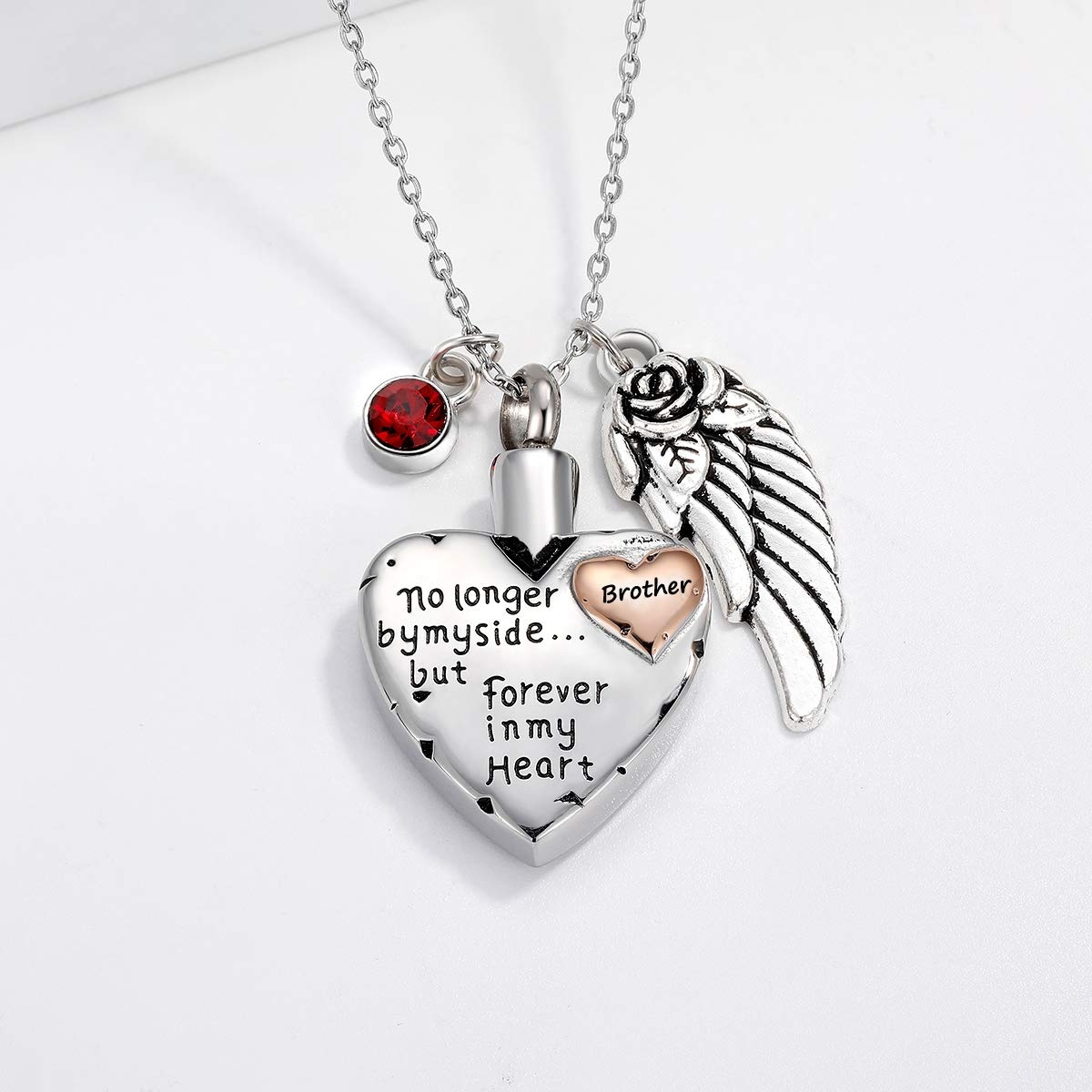 No Longer by My Side Forever in My Heart Cremation Jewelry for Ashes Pendant Birthstone/&Angel Wing Stainless Steel Memorial Necklace for Ashes