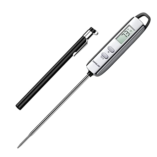 TOPELEK Cooking Digital Instant Read Food Long Probe Auto F/°C Button, Best Kitchen Thermometer for Meat, Turkey, Sugar, Milk, Water, Jam, Bbq, Etc, 4.7 Inches