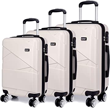 Rigide 4 roues léger Spinner Set De 3 Valise Trolley bagages sac étui