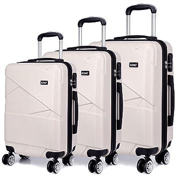 Kono Fashion 4 Wheels Travel Luggage Sets PC Hard Shell Suitcases ...