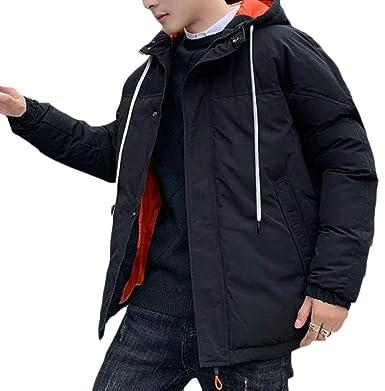 Hajotrawa Men Down Coat Thickened Outerwear Hooded Winter Parkas Jacket