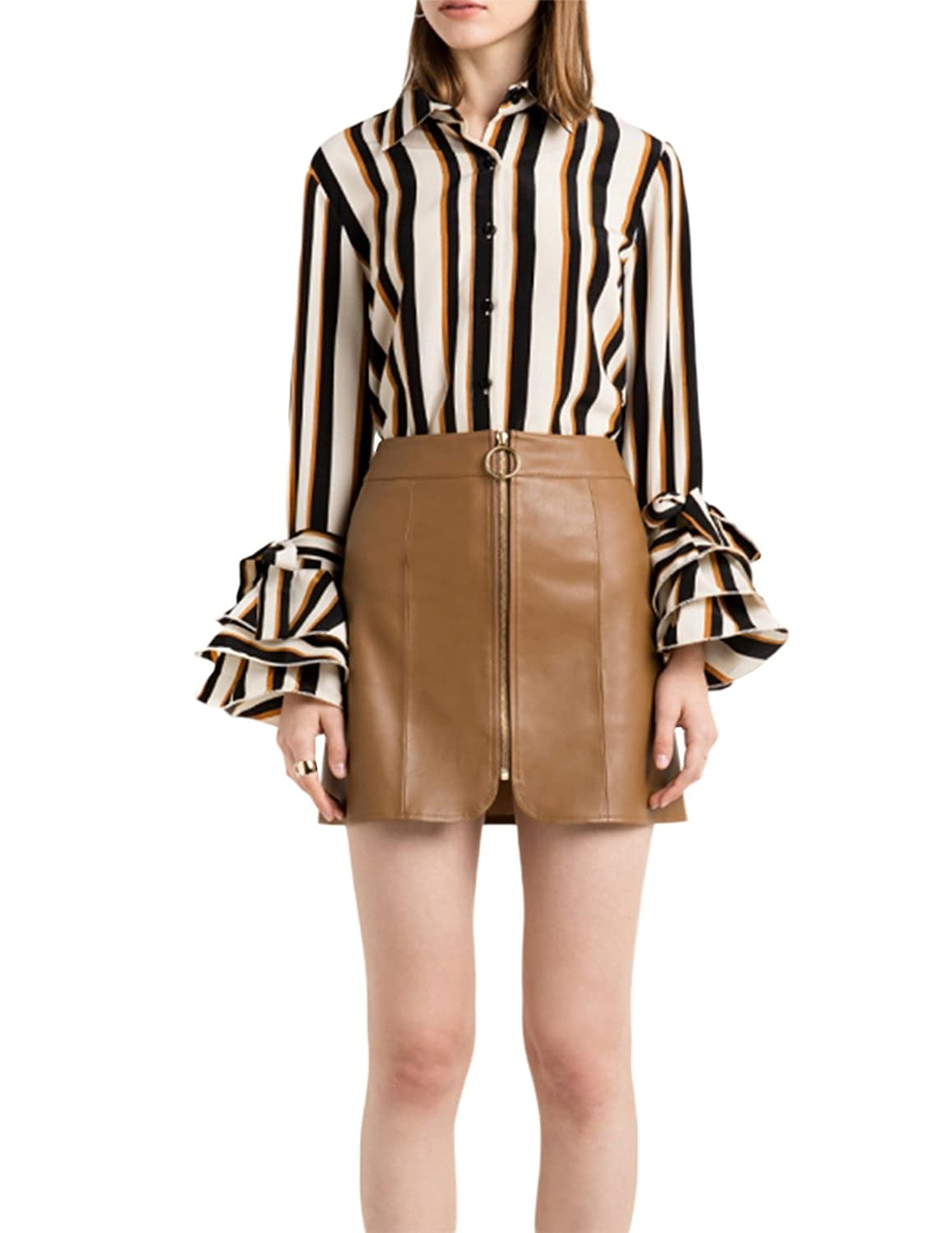 Stripes haoduoyi Womens Casual Stripes Long Flare Sleeve Shirt Blouse