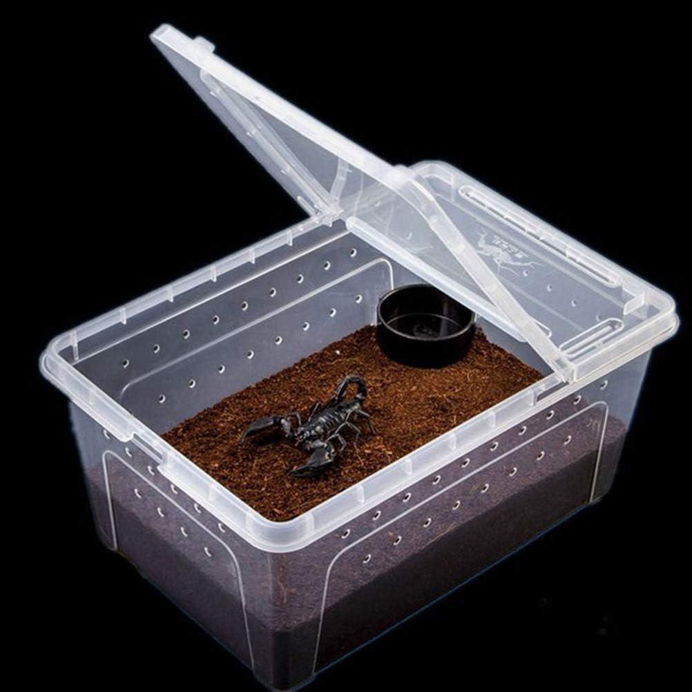 POPETPOP Caja de Alimentaci/ón de Reptiles de Pl/ástico Casa de Escondite Transparente para Tortuga Serpiente Ara/ña Escorpi/ón Gecko Insecto Blanco