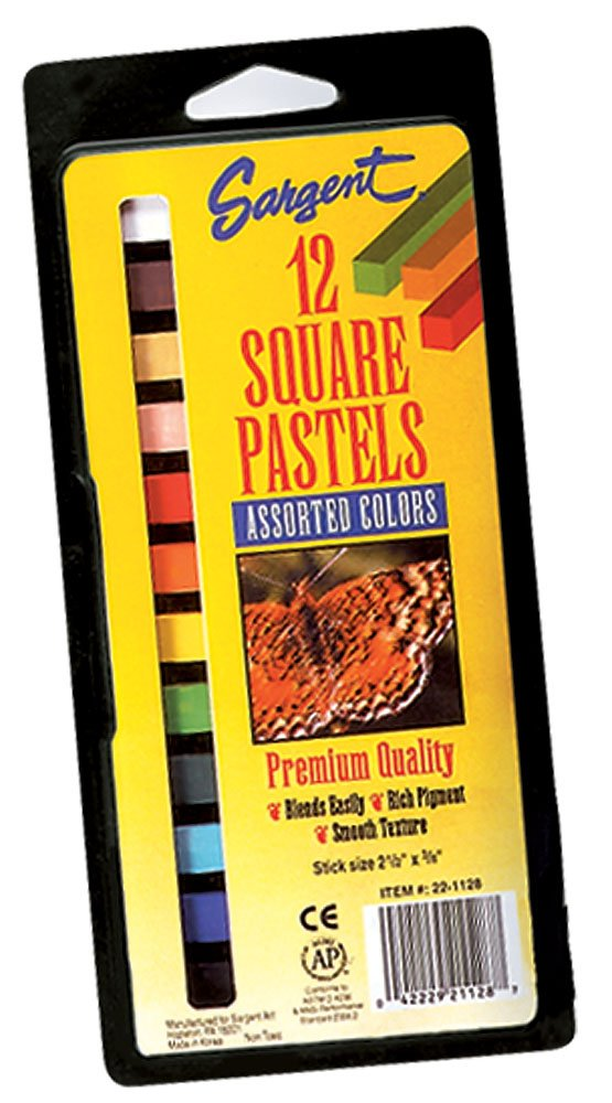 Sargent Art 22-1128 12-Count Assorted Color Square Pastels