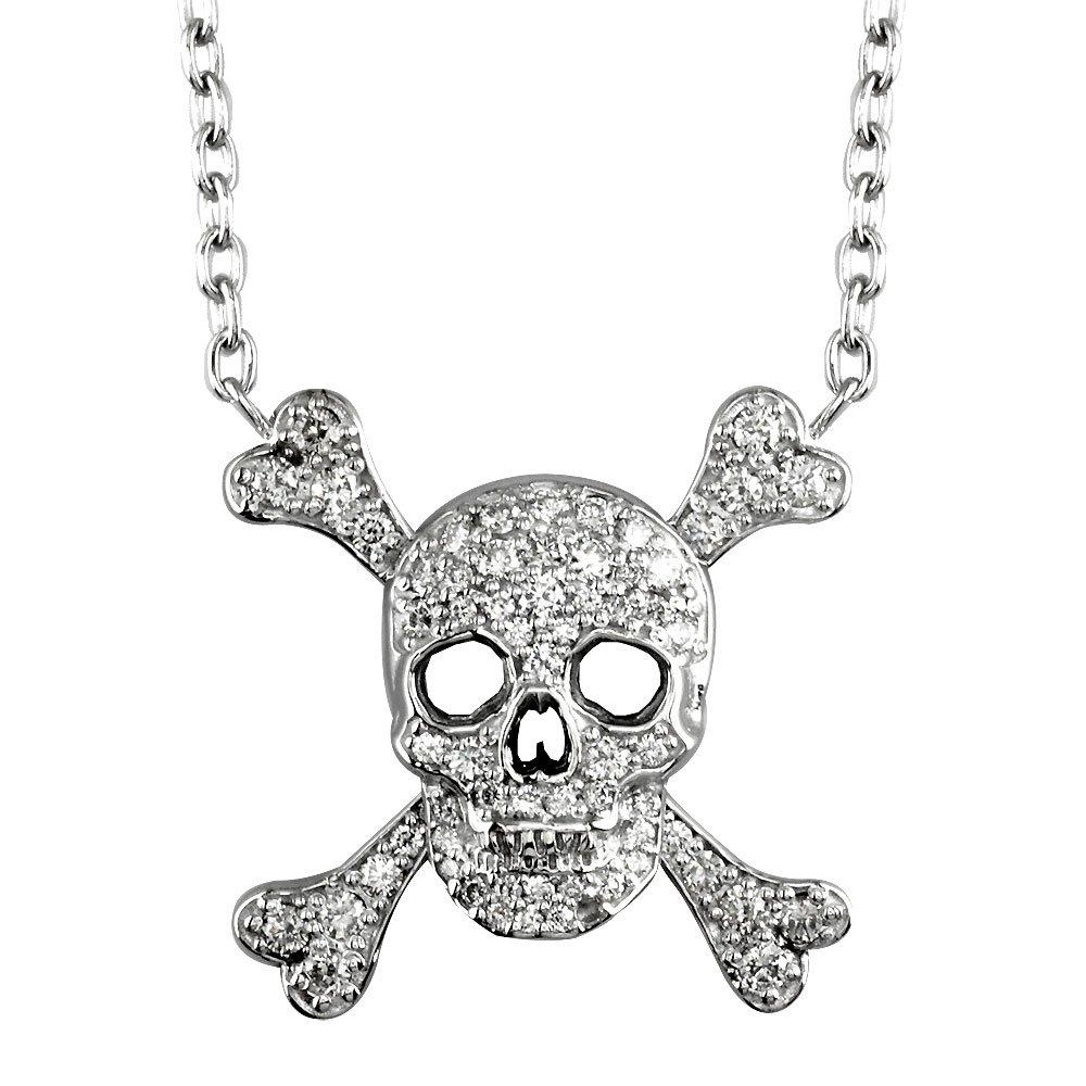 Men's Large Jolly Roger Skull and Crossbones Diamond 14K White Gold Pendant - DeluxeAdultCostumes.com
