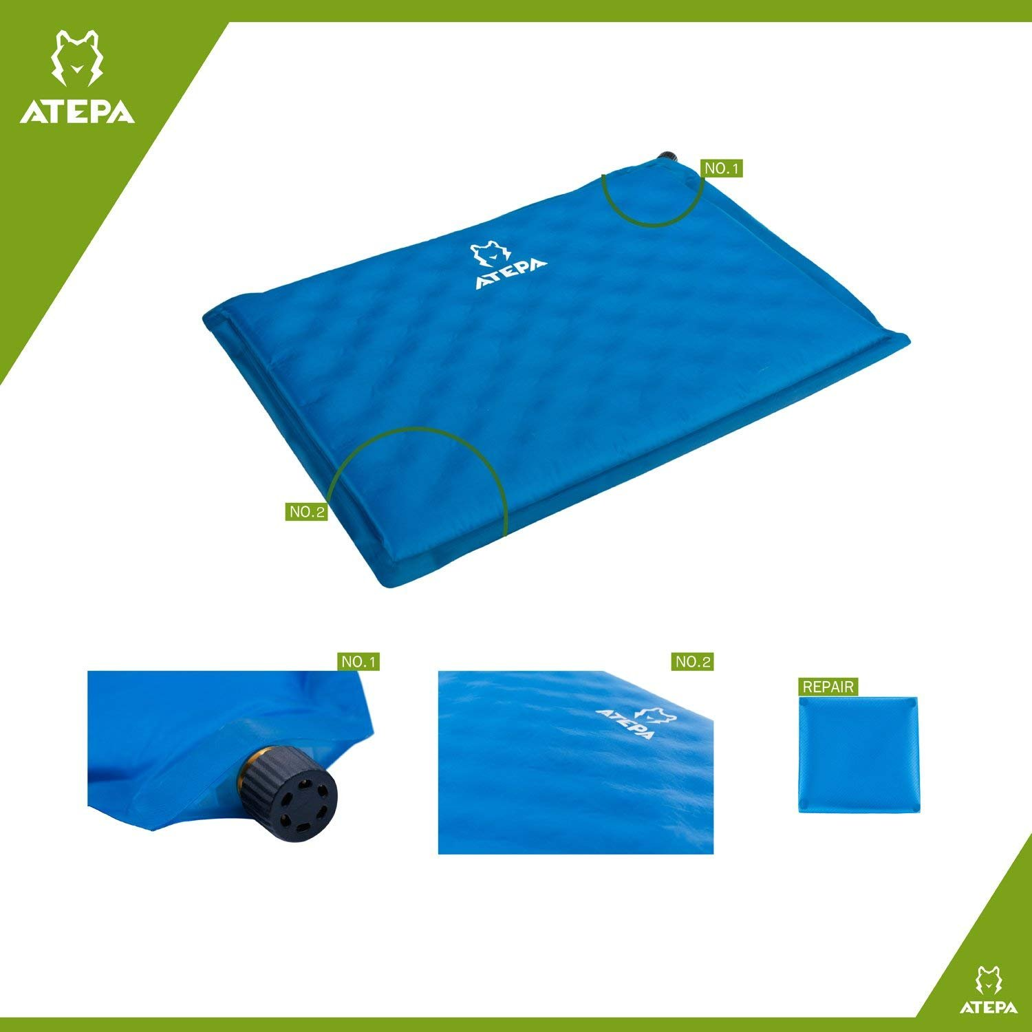 ATEPA Portable Multipurpose Outdoor Self Inflatable Seat Cushion, Can Be Used as Pillow or Stadium Seat