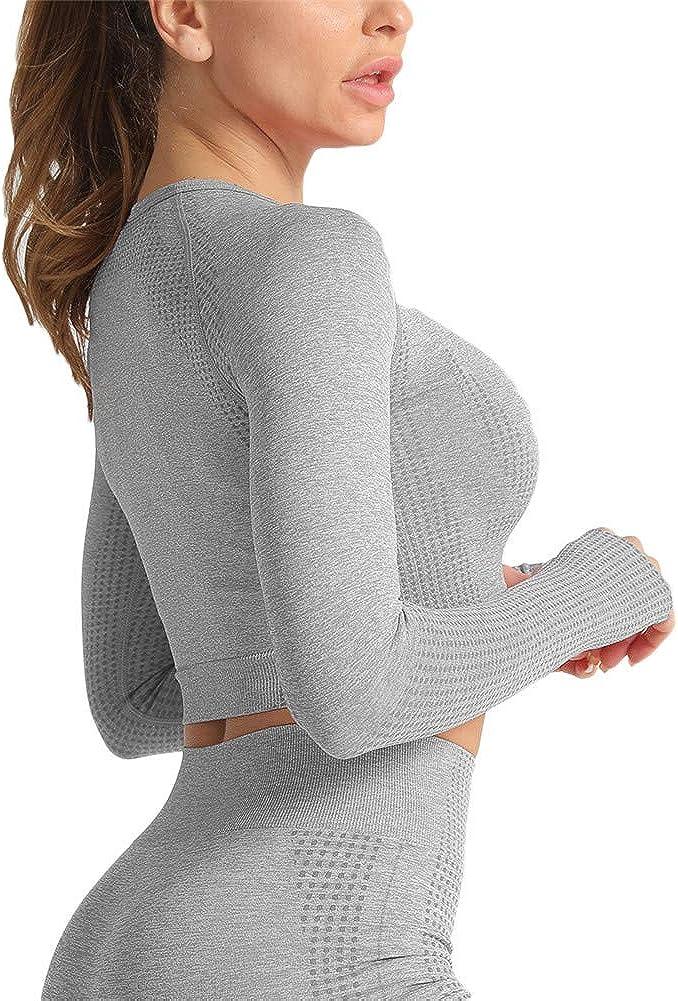 yoga Abbigliamento per allenamento da donna top corto aderente a maniche lunghe per palestra fitness SotRong