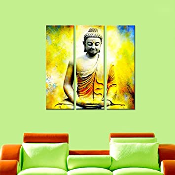 Amazon.com: Wall Mantra 3 Panel Canvas Sitting Buddha Decorative ...