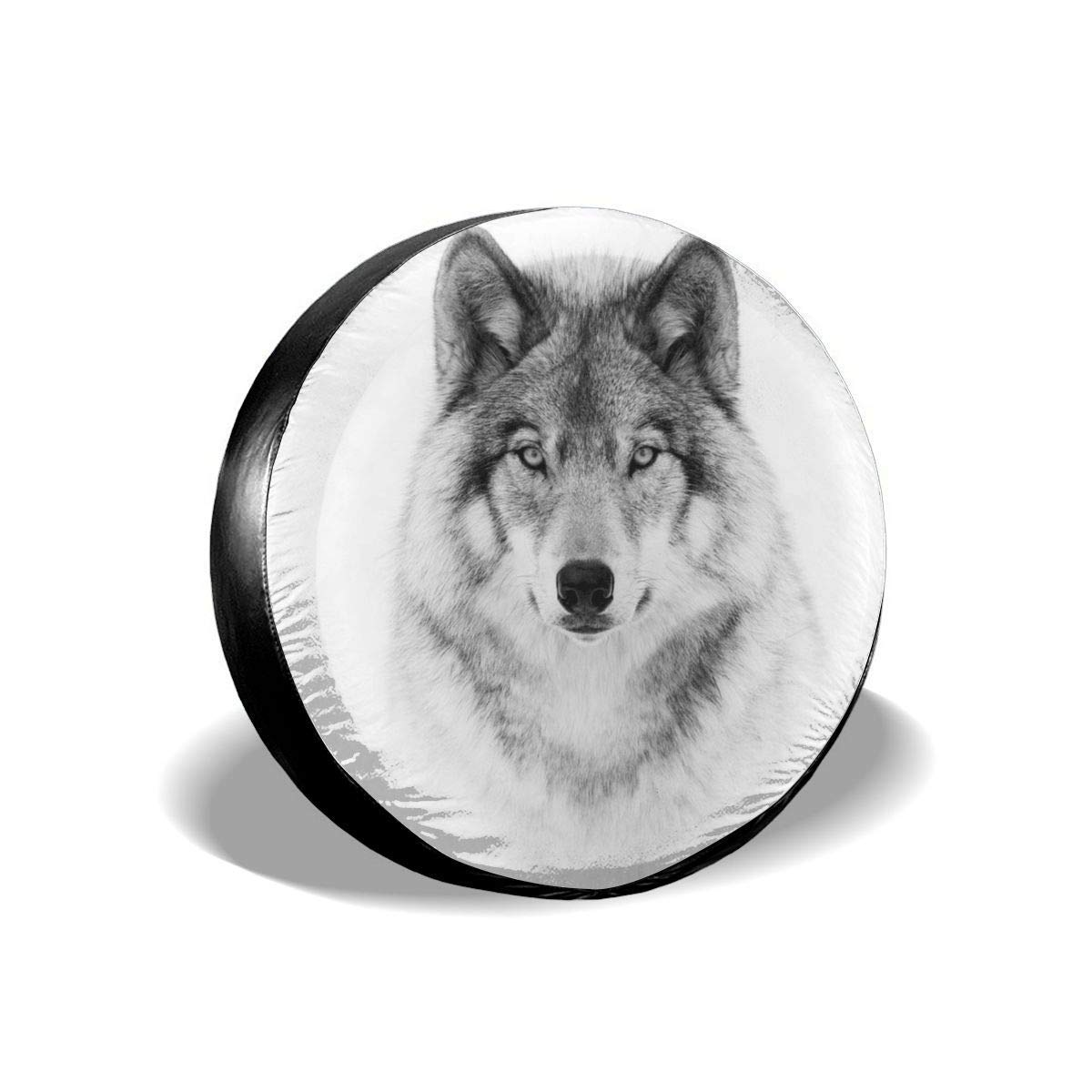 Monotone Timber Wolf Car Tire Cover Rainproof Protective Cover Cape Water Proof Universal Spare Wheel Tire Cover Fit for Trailer RV SUV and Various Vehicles Tire Cover Belleeer Reserveradabdeckung