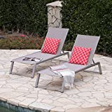 Great Deal Furniture Santa Monica Outdoor Grey Mesh Chaise Lounge with Grey Finished Aluminum Frame (Set of 2)