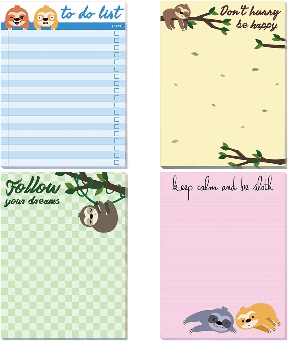 Sloth Memo Pads 4 Pack Funny Animal Notepads for Office Home Gifts School Supply To Do List Lazy Day