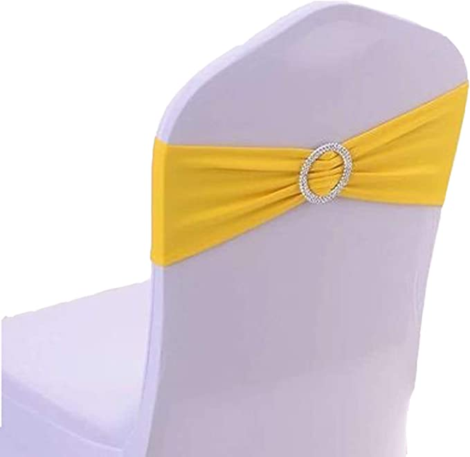 50PCS Spandex Chair Sashes Bows Elastic Chair Bands with Buckle Slider Sashes Bows for Wedding Decorations sy66 (Light Yellow)
