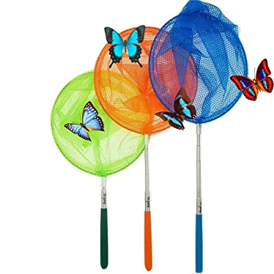 """#1 M-jump 3 Pack Colored Telescopic Butterfly Nets - Great for Catching Insects Bugs Fishing - Outdoor Toy for Kids Playing - Extendable from 6.8"""" to 34"""": Toys & Games"""