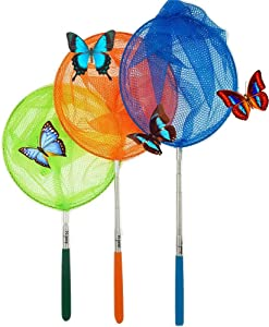 "#1 M-jump 3 Pack Colored Telescopic Butterfly Nets - Great for Catching Insects Bugs Fishing - Outdoor Toy for Kids Playing - Extendable from 6.8"" to34"""