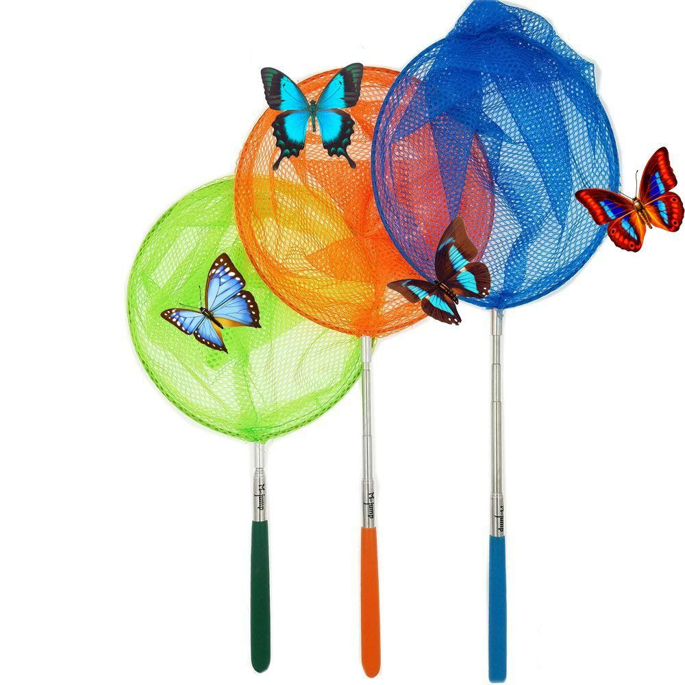#1 M-jump 3 Pack Colored Telescopic Butterfly Nets - Great for Catching Insects Bugs Fishing - Outdoor Toy for Kids Playing - Extendable from 6.8