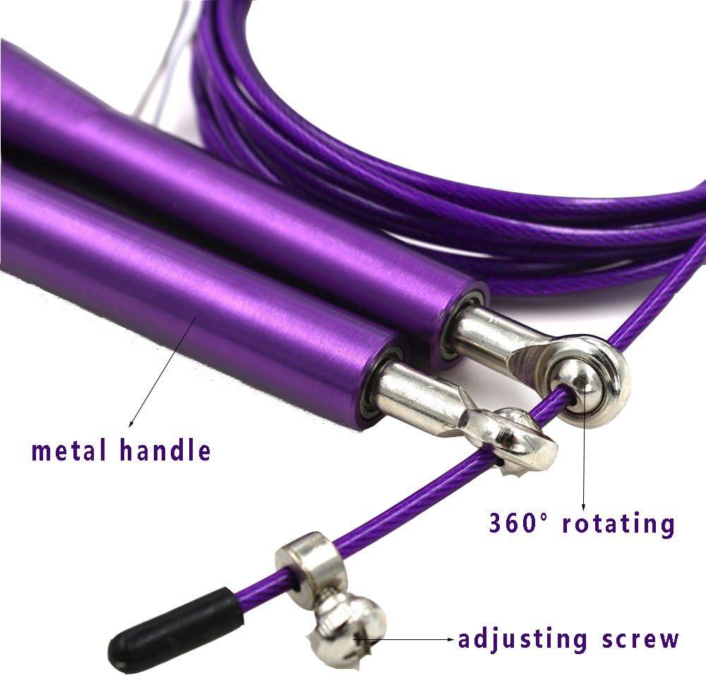 para mujer disponible en 6 colores Comba de VIPM2C;/cuerda de Saltar con cable ajustable de alta velocidad para boxeo y lucha libre; rodamientos de bola y asas antideslizantes