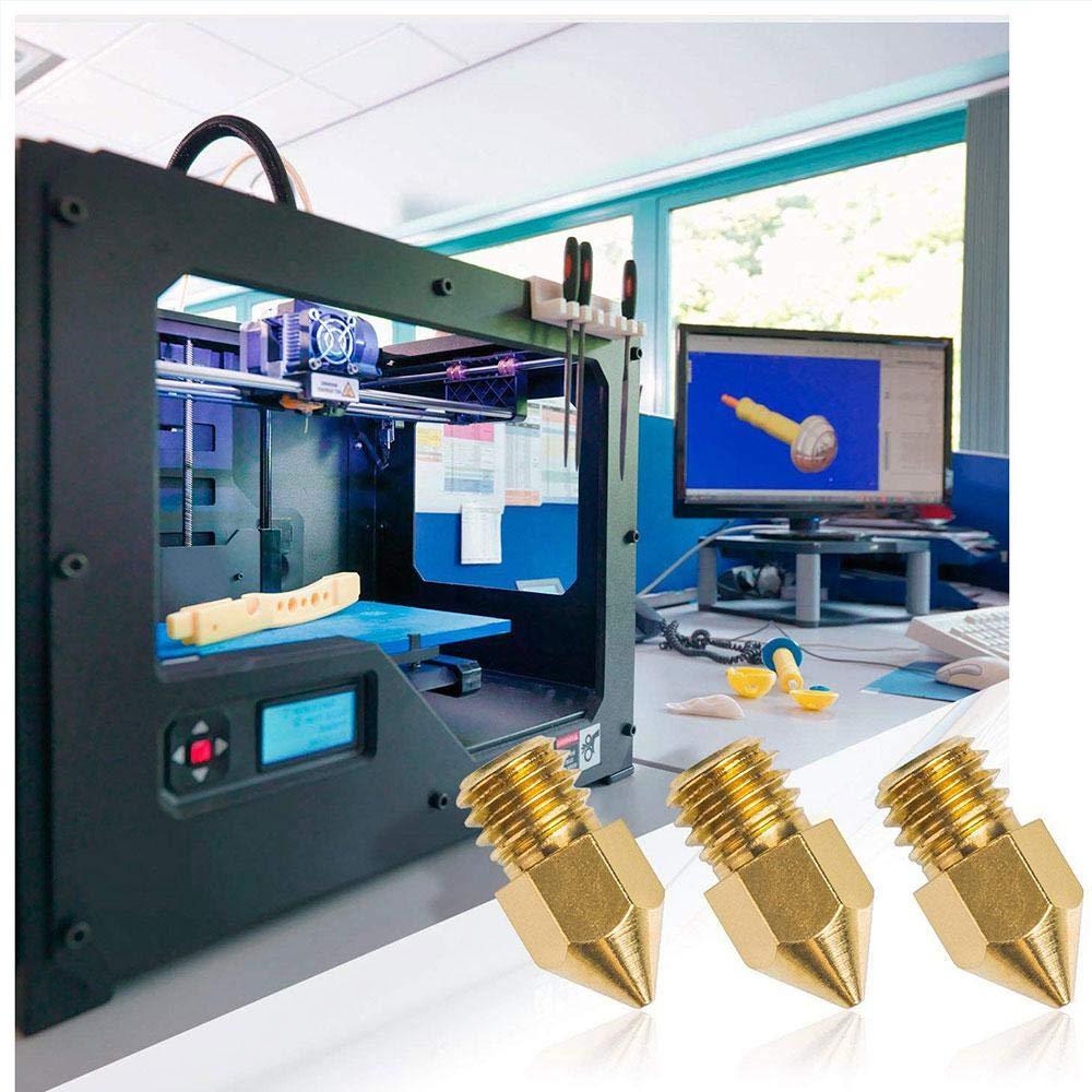 Hamkaw AOLVO 18 Piezas Boquilla Extrusor MK8 Adecuado para Anet A8// Creality cr-10// Tevo Tarantula// MK8 MakerBot//RepRap// i3Prusa Extrusora Lat/ón Boquilla Cabezal de Impresi/ón