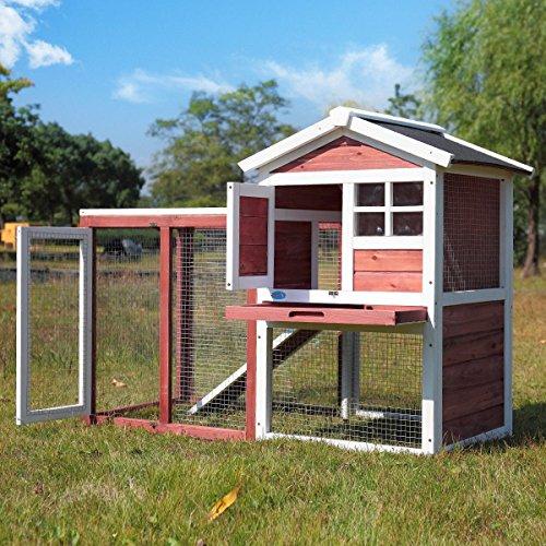 """LAZYMOON 48"""" Medium Wooden Chicken Coop Rabbit Hutch /Hen House Cage Outdoor (Chicken Hutch)"""