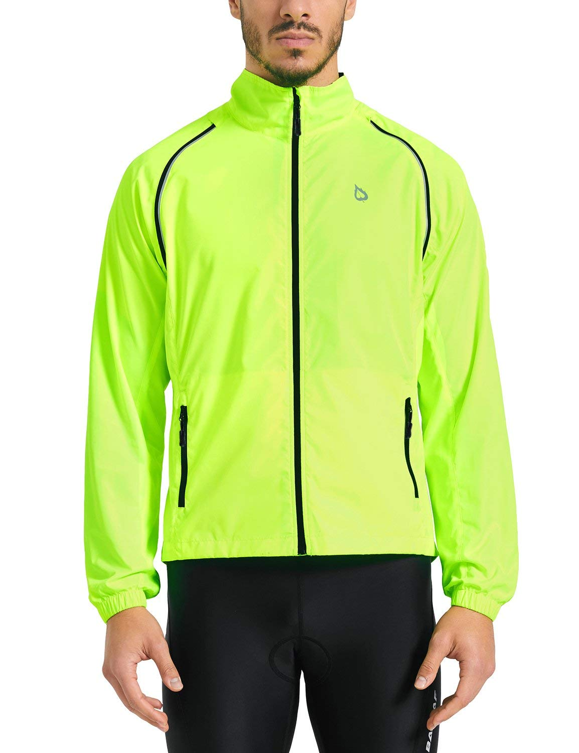 Baleaf Men's Cycling Jacket Vest Windproof Water-Resistant Coat Breathable Outdoor Sportswear Fluorescent Yellow Size S
