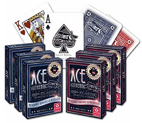 ACE Casino 100% Plastic Playing Cards - 6 Decks (Casino Plastic)