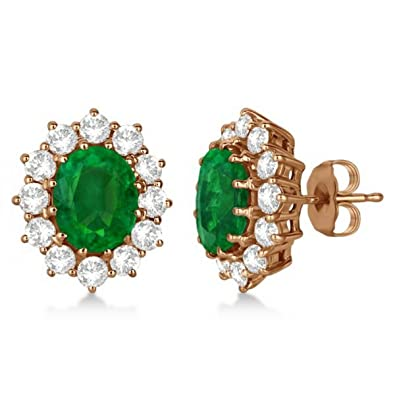 99a1ad28d Amazon.com: Princess Diana Emerald and Diamond Accented Earrings For Women  14k Rose Gold (7.10ct): Stud Earrings: Jewelry