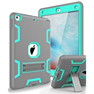 TOPSKY Case for New iPad 9.7 2018,iPad 6th/5th Generation Case,Three Layer Shockproof Armor Defender Protective Case Cover for Apple iPad 9.7 2017/2018 A1893 A1954 A1822 A1823,Grey Green
