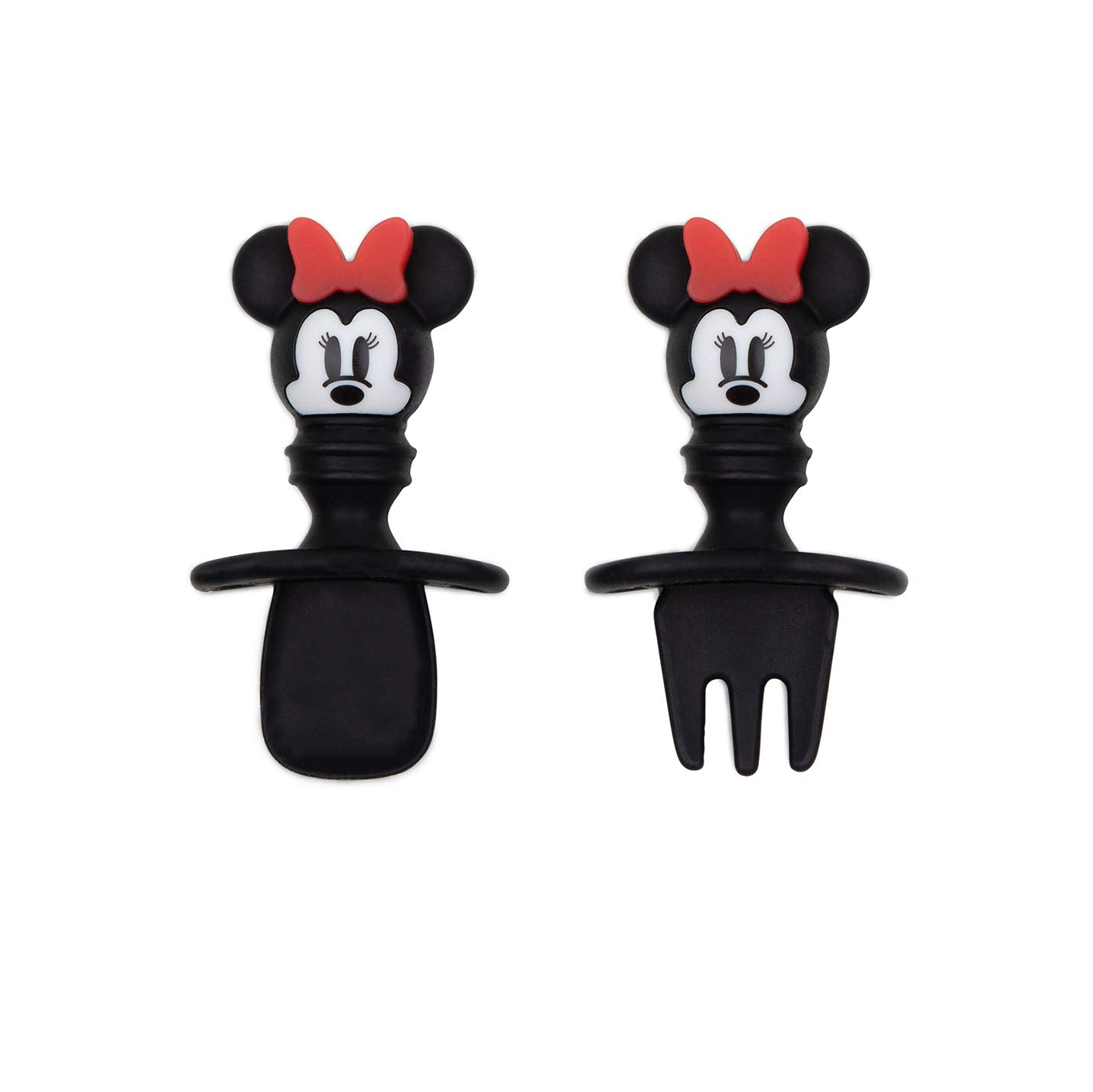 Bumkins Disney Silicone Chewtensils, Baby Fork & Spoon Set, Training Utensils, Baby Led Weaning Stage 1 for Ages 6 Months+ Minnie Mouse