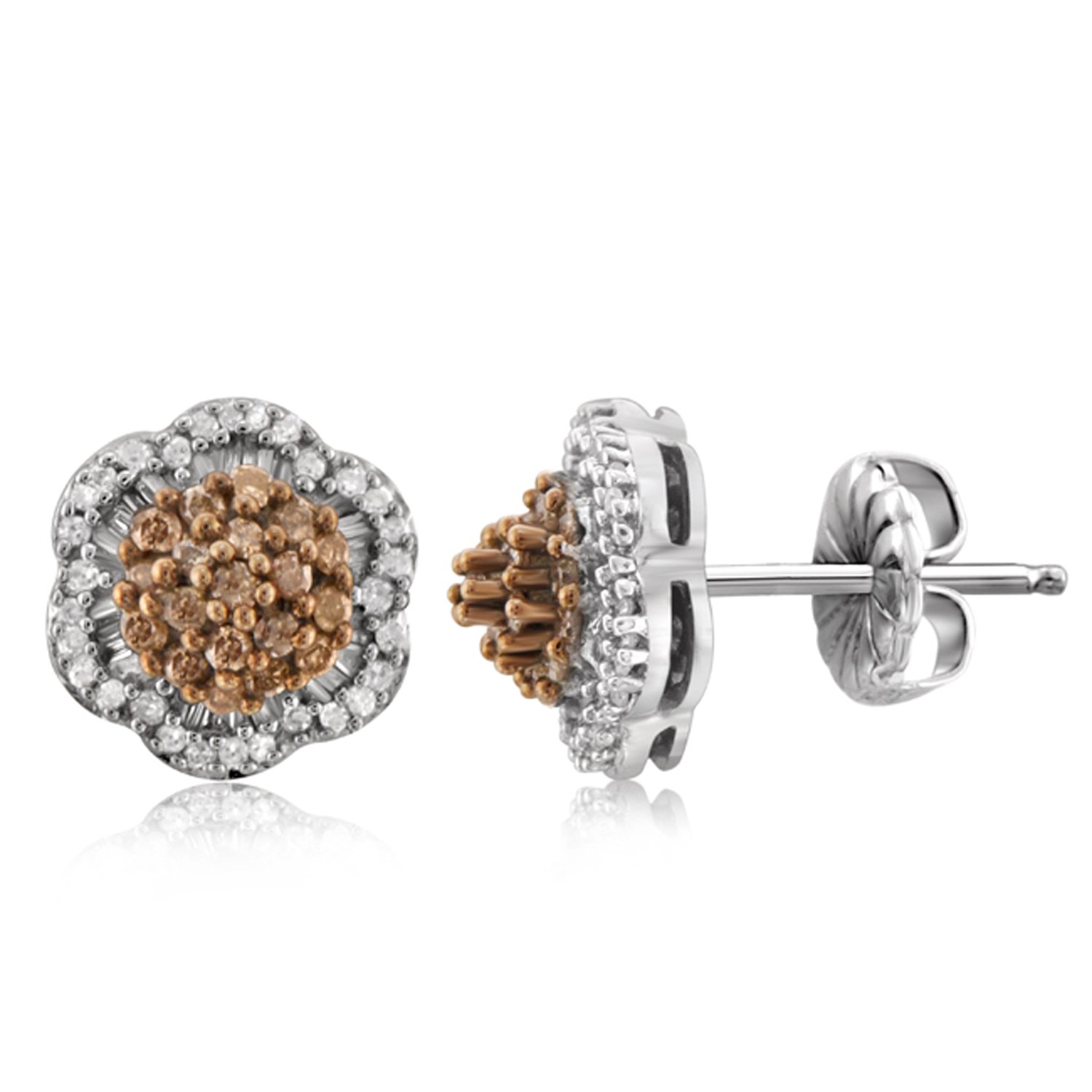 1/2 CTW Genuine Champagne & White Diamond Sterling Silver Earring