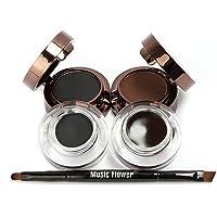 Pro Waterproof Smudge-proof Eye Makeup Kit Eyeliner Gel Brown Black Eyebrow Powder