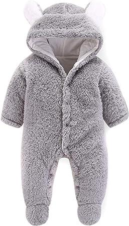 Queen.Y Babyoverall Neugeborenes Baby S/ü/ßer Ohroverall Neugeborene Warme Kapuzenfu/ßbodysuit-Oberbekleidung in Einem Mantel