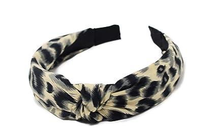Amazon.com: Diadema de leopardo con nudo de turbante, lazo ...