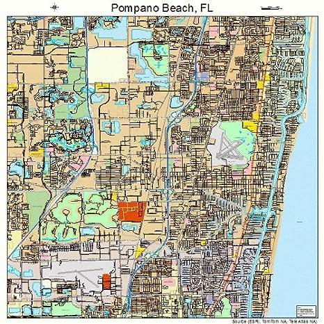 Pompano Beach Map Of Florida.Amazon Com Large Street Road Map Of Pompano Beach Florida Fl