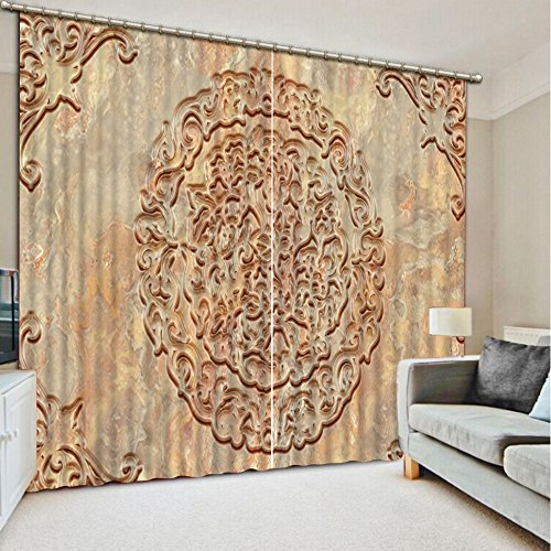 Sproud Top Quality 3D Printing Curtains Lifelike Blackout Cortians Beautiful Full Light Shading Bedroom Livng Room Curtains 260Dropx300Wide(Cm) 2 pieces by Sproud