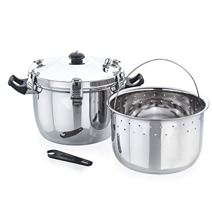 Expresso Deluxe Alpha Stainless Steel Outer Lid Pressure Cooker, 1kg(Plain Silver)