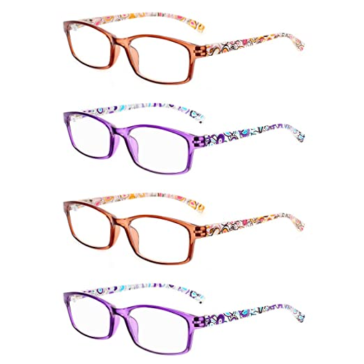 d013bc11a07 READING GLASSES 4 Pairs Stylish Quality Spring Hinge Readers Fashion Men  and Women Glasses for Reading