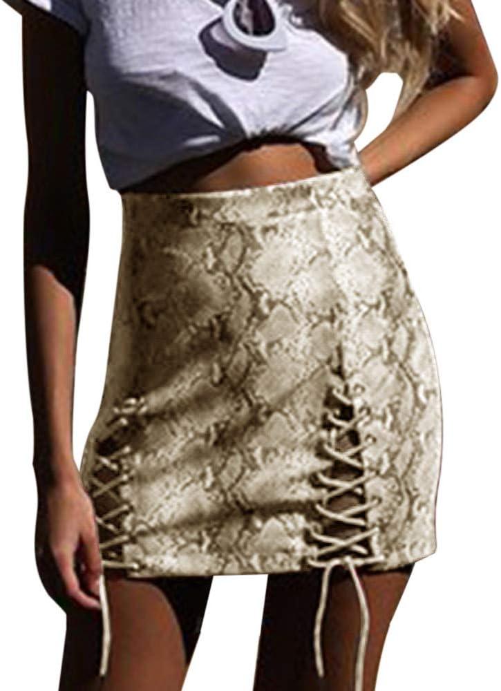 Falda Mujer Corta Sexy Serpiente Vendaje Cruzado Delgada Vestido ...