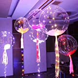 5pcs 18-inch Clear Foil Helium Bobo Balloons with Copper LED Light Bar, String Light Creative Balloon for Birthday Wedding Christmas Party Decorative