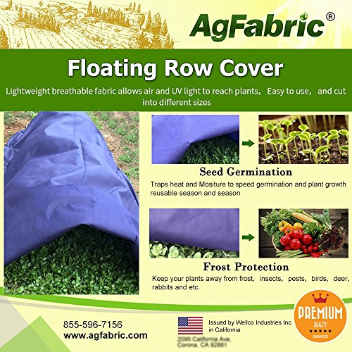 Agfabric Warm Worth Super-Heavy Floating Row Cover & Plant Blanket, 1.5oz Fabric of 10x25ft for Frost Protection & Harsh Weather Resistance, Dark Blue by Agfabric