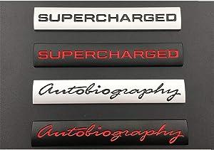 "Silver Black""Autobiography"""" SUPERCHARGED"" Trunk Letters Badge Emblem Emblems Badges for Discovery Range Rover (Silver-black letters, Autobiography)"
